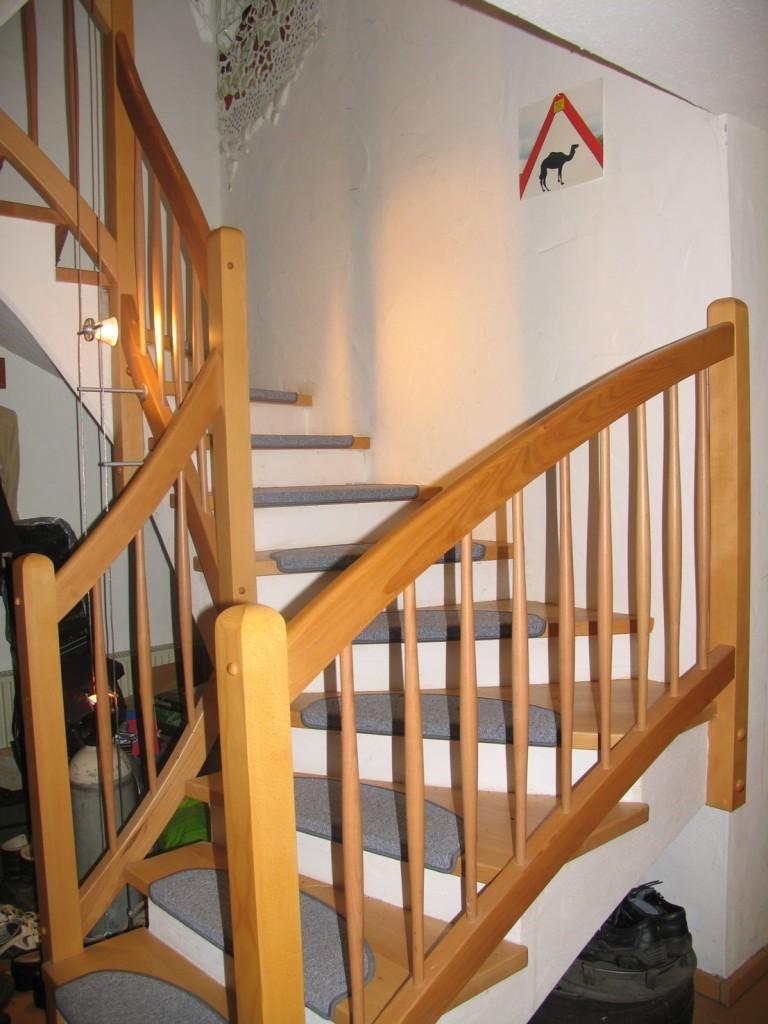 Tritt und Geländer montiert an Betontreppe